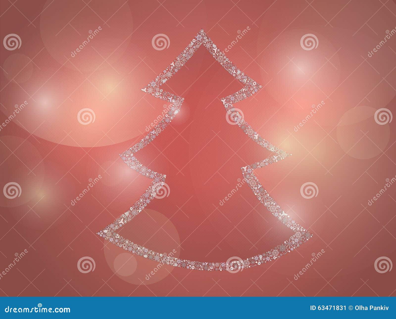stilisierter weihnachtsbaum auf einem roten hintergrund. Black Bedroom Furniture Sets. Home Design Ideas