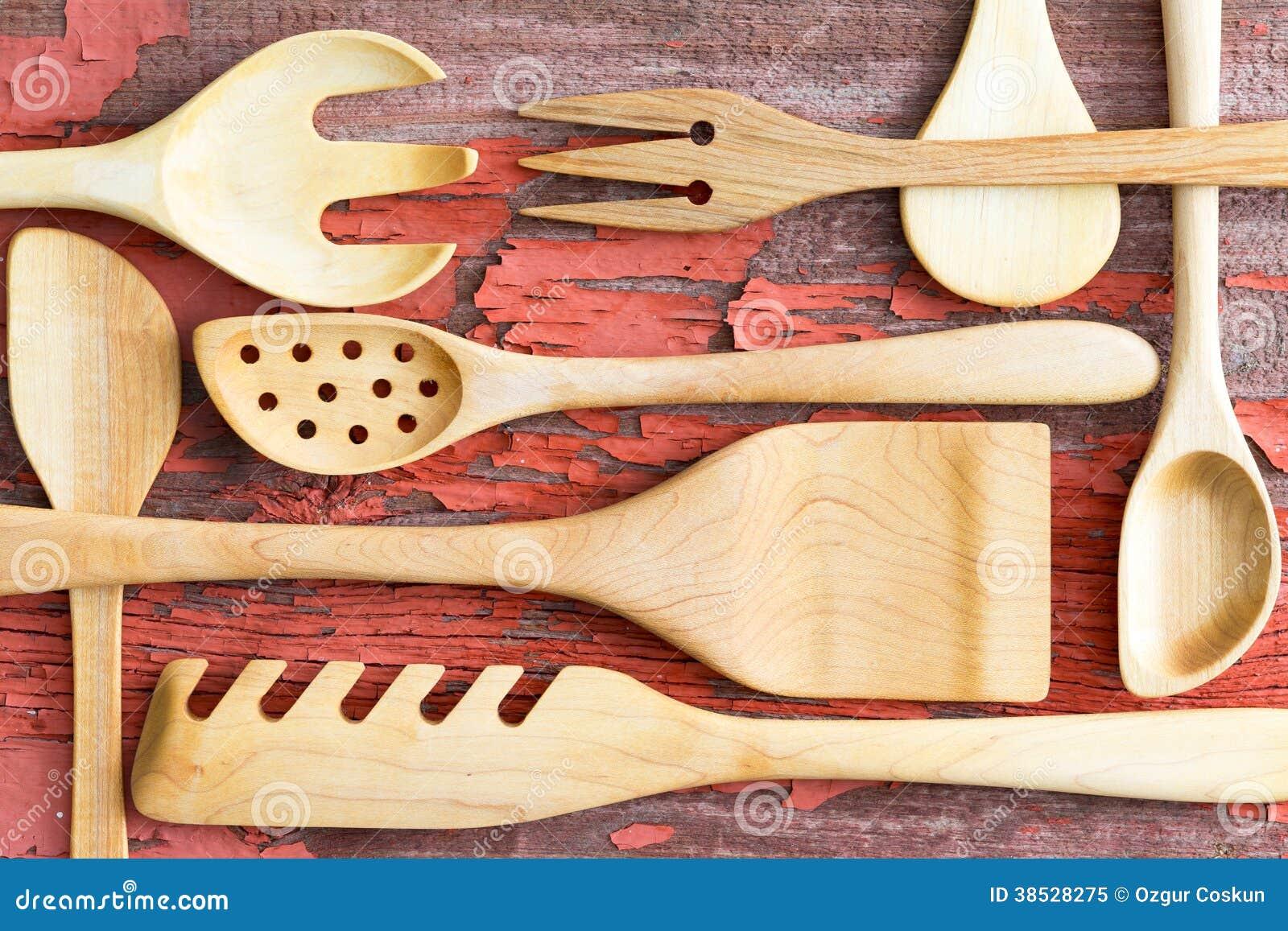 Still Life Arrangement Of Wooden Kitchen Utensils Royalty