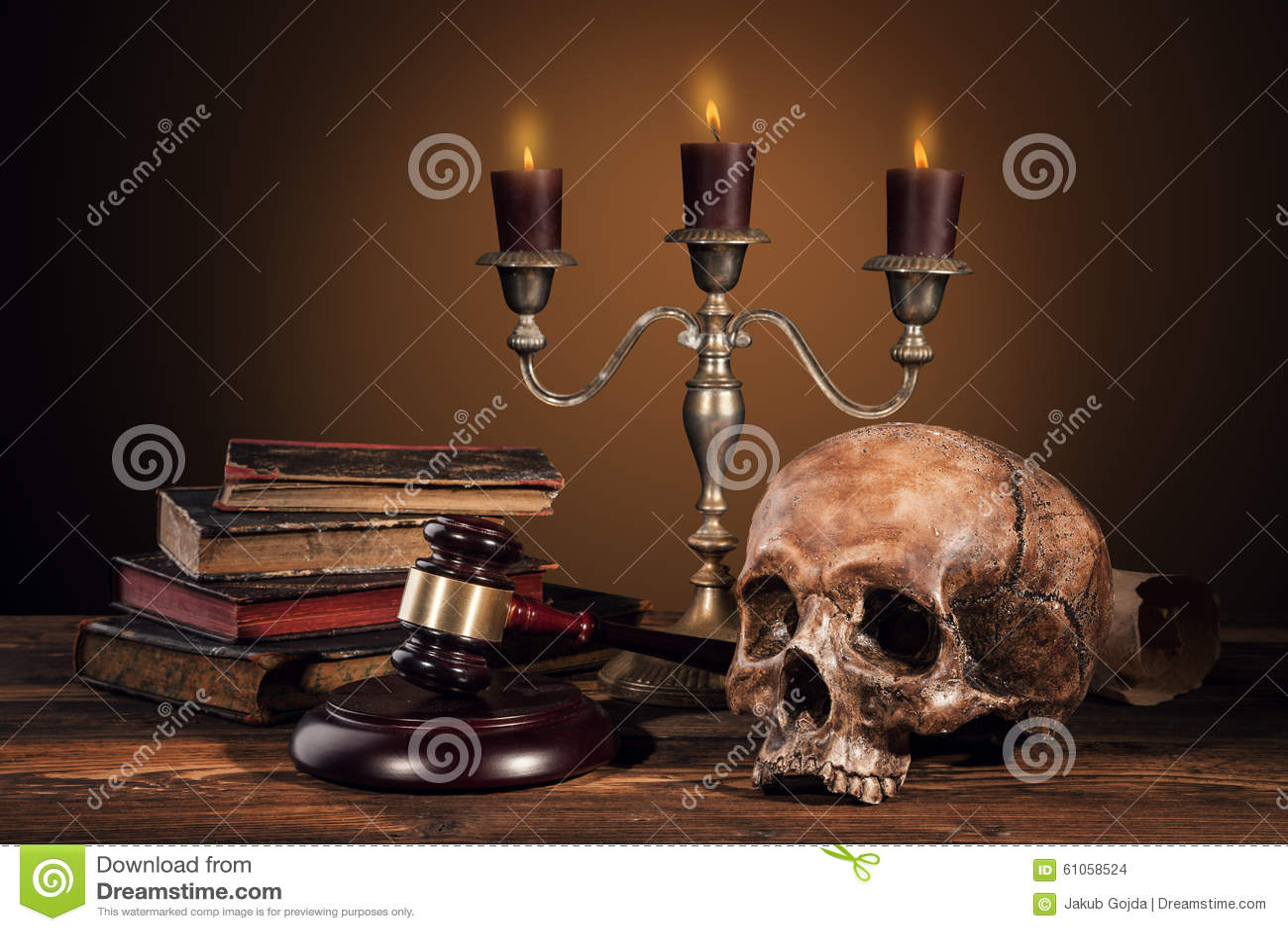Still life art photography on human skull skeleton