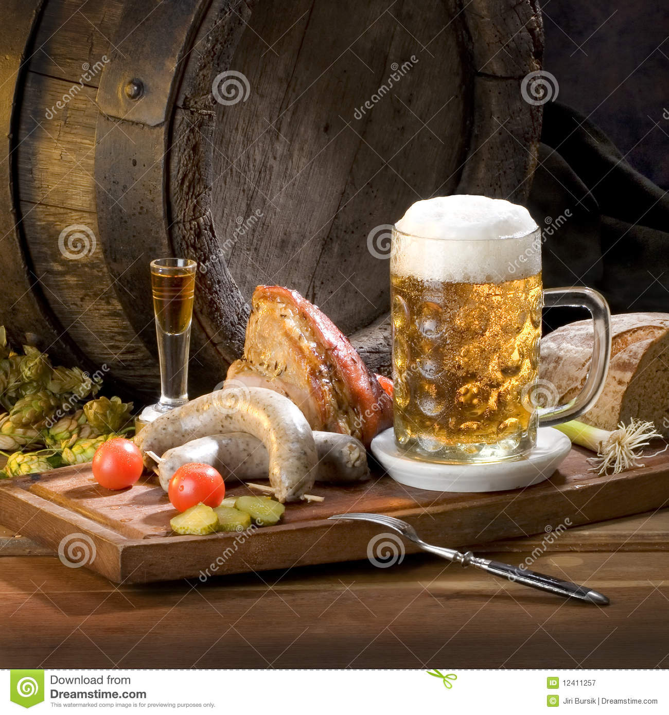 Download Still Life With Beer And Food Stock Image - Image of dinner, czech: 12411257
