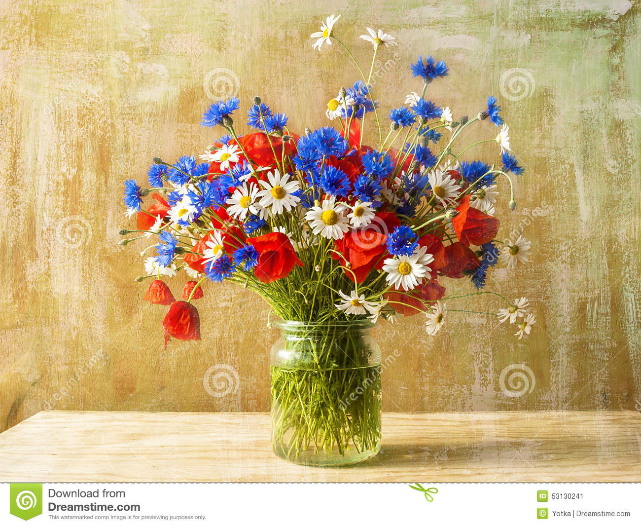 still life bouquet colorful wild flowers stock photo