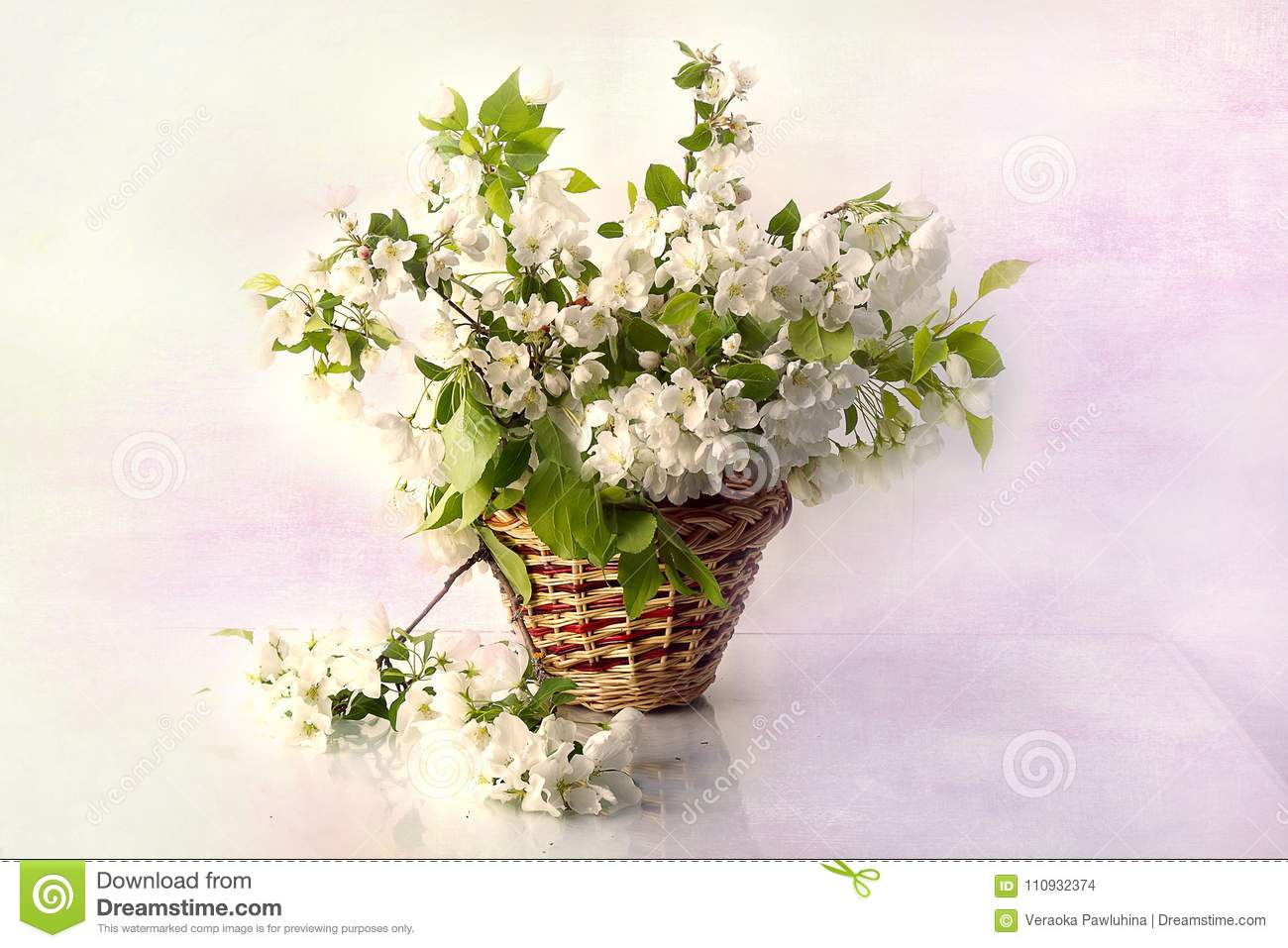 Still Life With Spring Flowers In A Basket Stock Photo Image Of