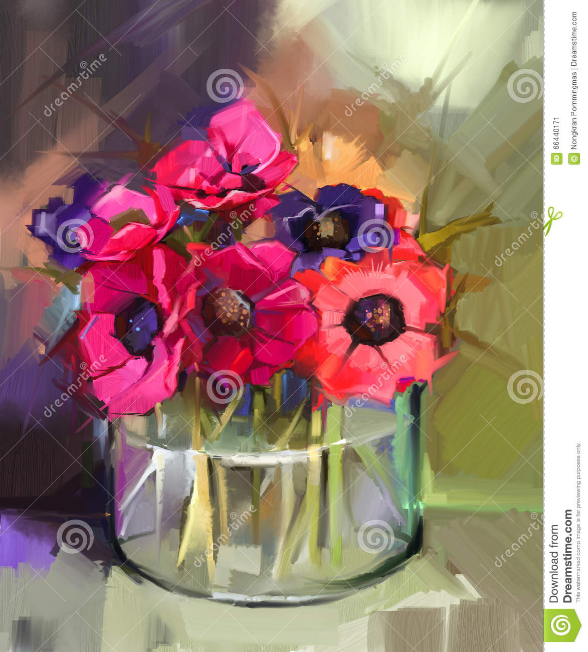 Still Life A Bouquet Of Flowers Oil Painting Red Anemones Flower Stock Illustration Image