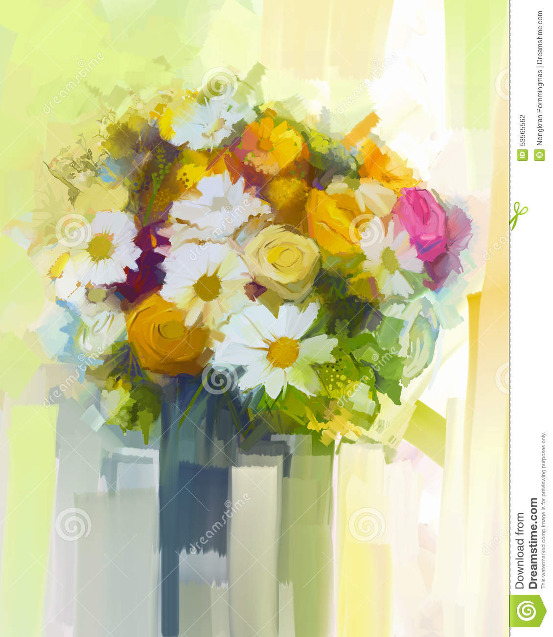 still life a bouquet of flowers oil painting stock