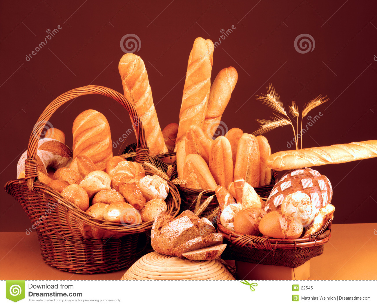 Still life with bread, rolls and baguette