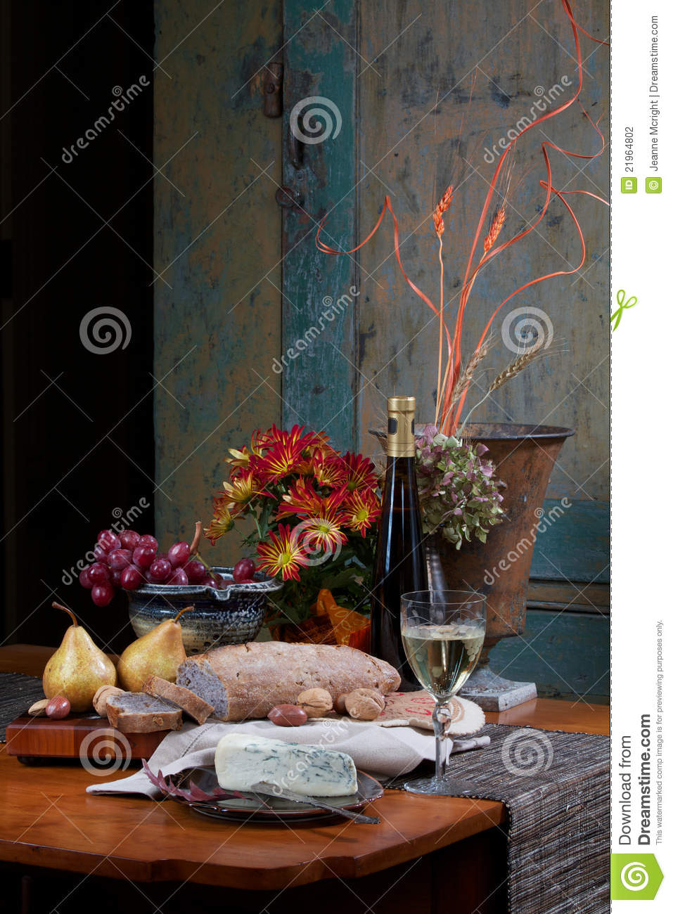 Still Life Of Bread Wine Fruit Cheese Stock Photography Image 21964802