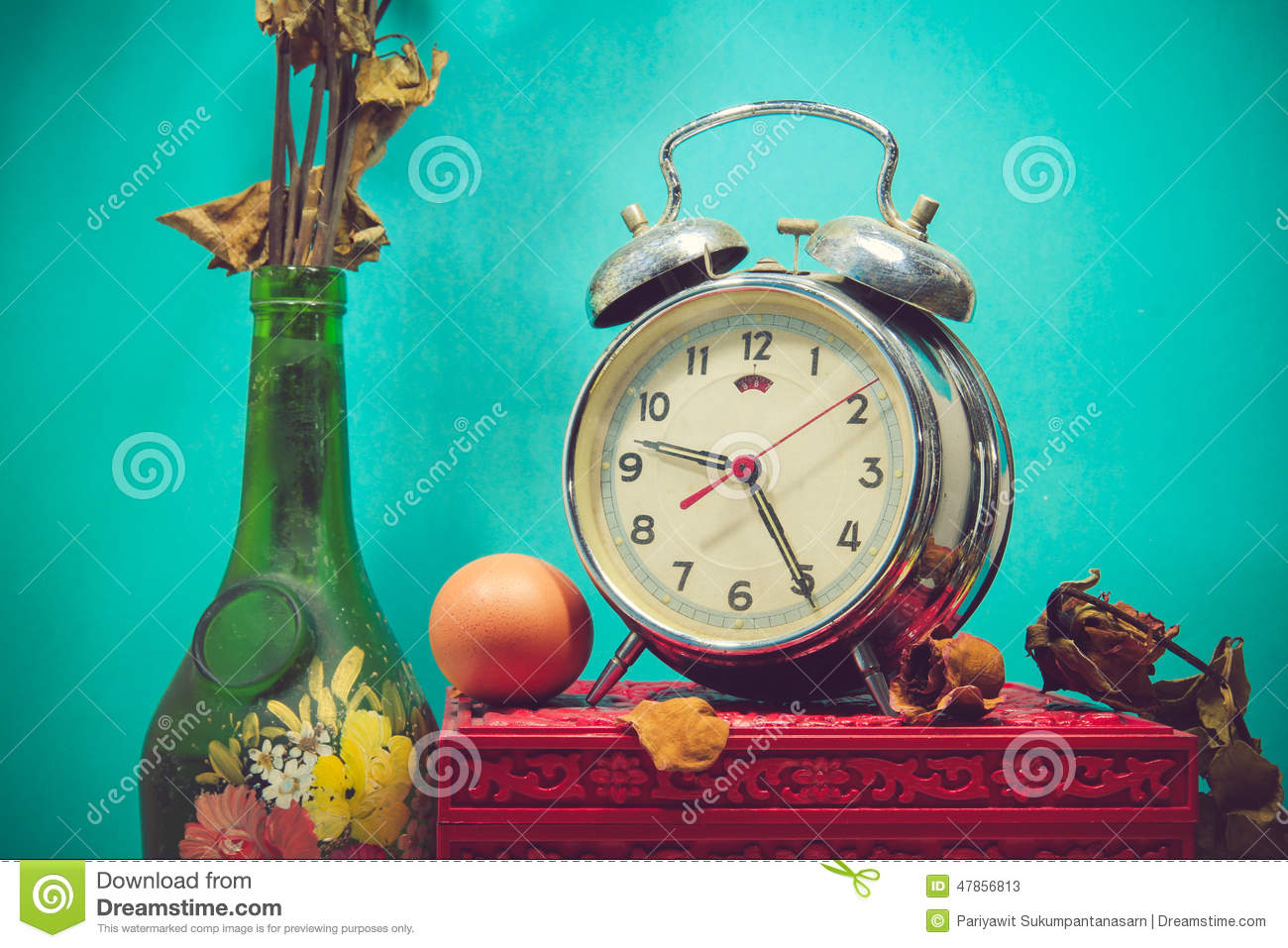 Still Life With Broken Alarm Clock Old Glass Vase With Dead Ros Stock Photo Image 47856813
