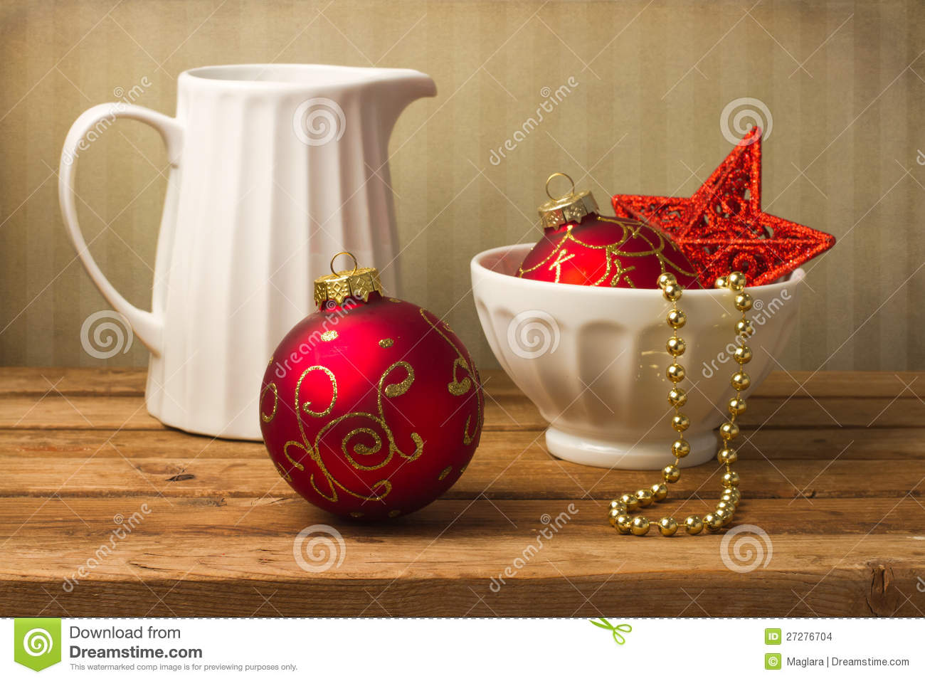 Still life with christmas ornaments stock photo image of