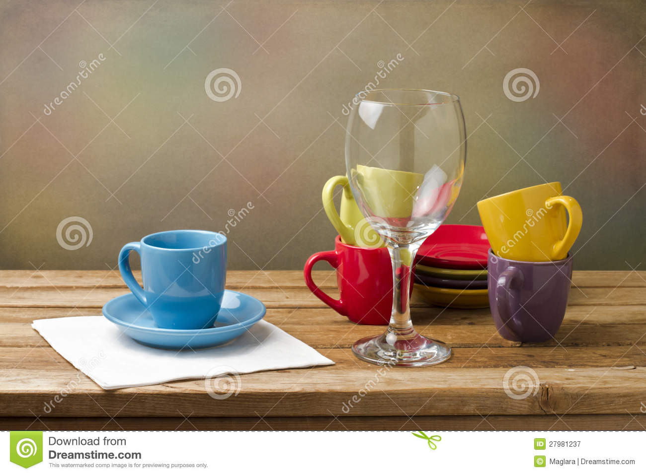 Still Life With Colorful Tableware Royalty Free Stock