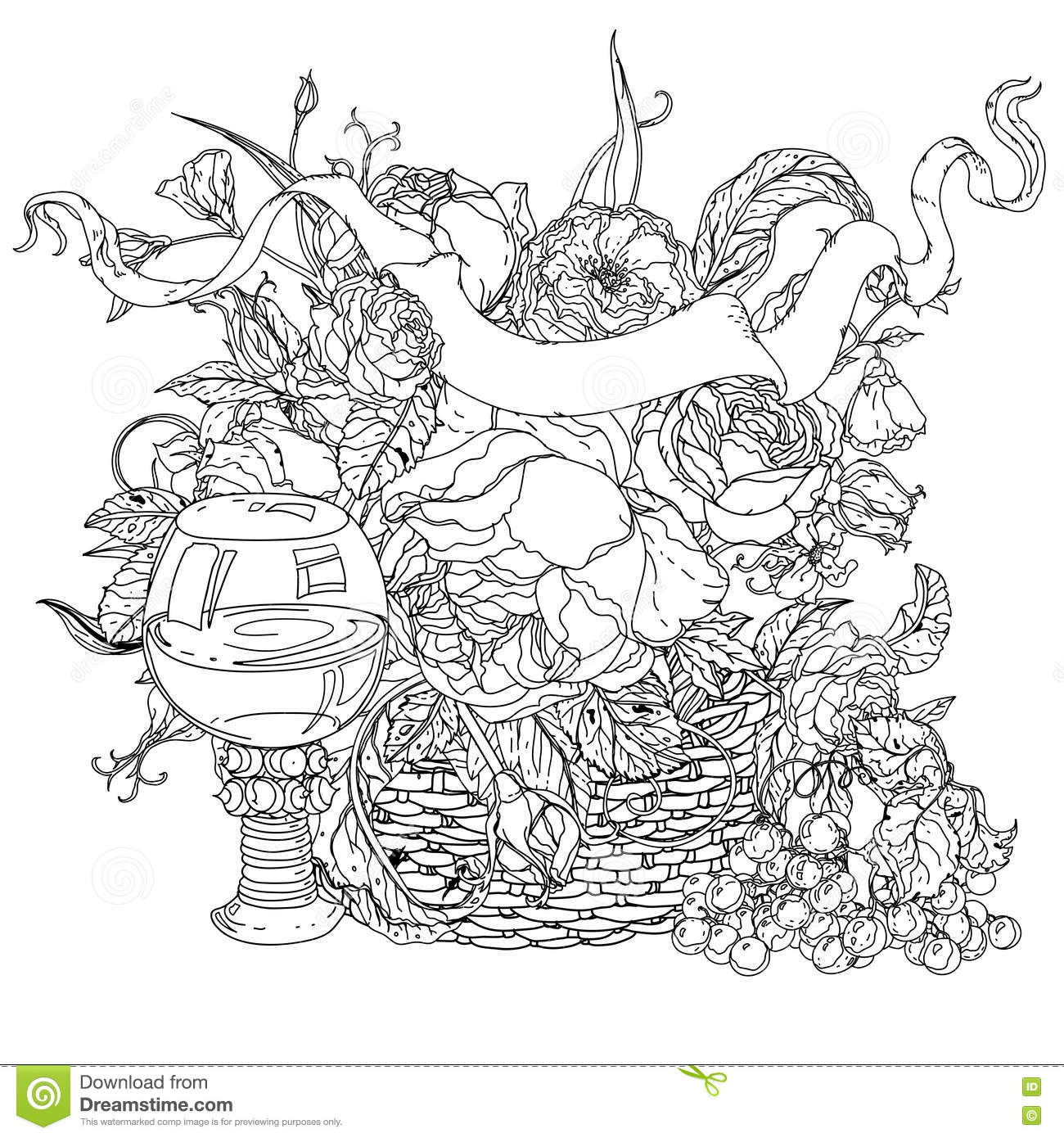 Still life coloring book antistress style picture stock Coloring book life