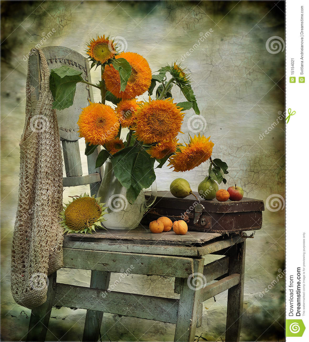 Still Life Consisting Of Sunflowers On A Chair Stock Image ...