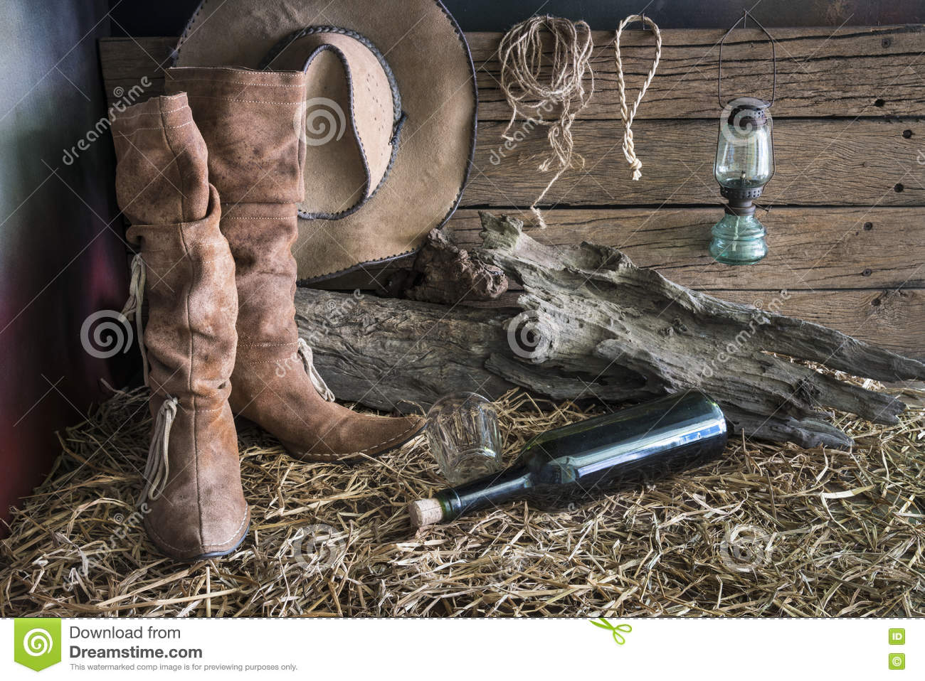 Still life with cowboy hat and leather boots
