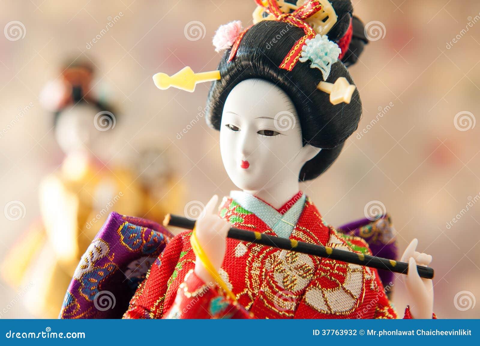 Still life Cute japanese geisha doll