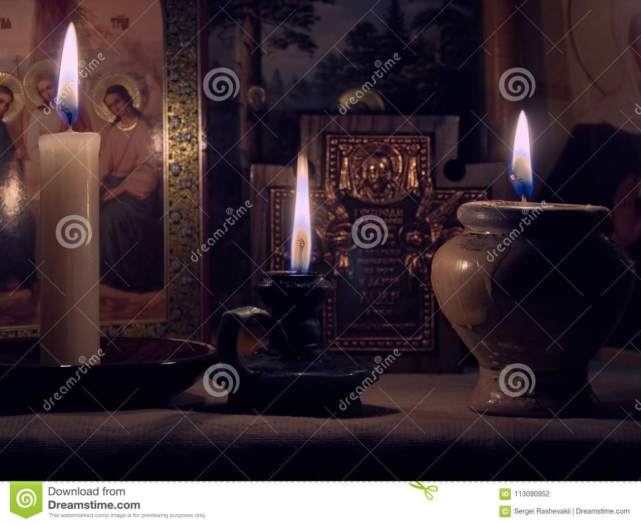 Still Life Candles Icons Flame Reflections Faces Holy Prayer