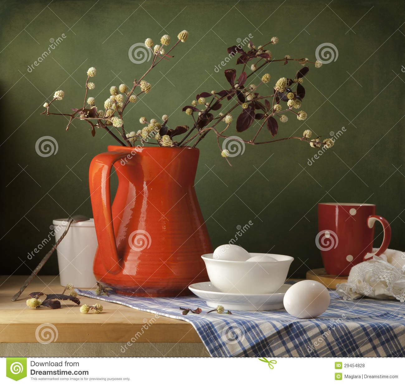 Still life with eggs and red jug