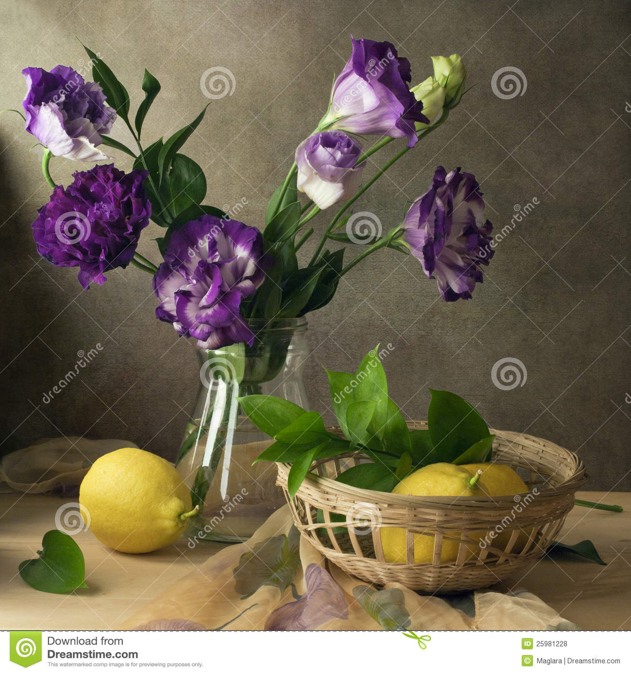 Still Life Eustoma Purple Flowers And Lemons Royalty Free