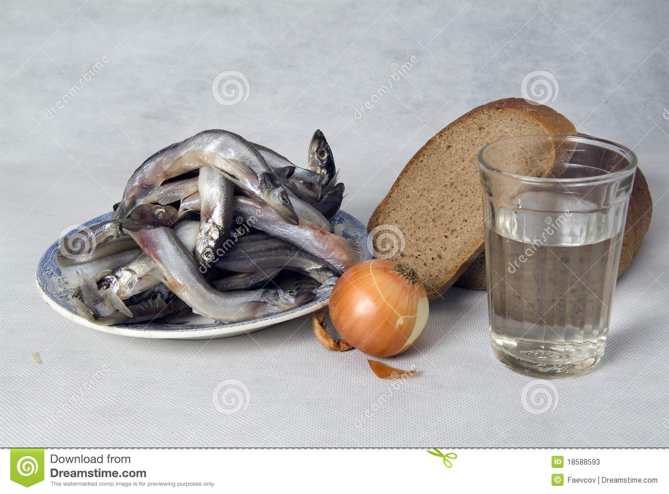 Still life with fish bread and vegetables stock photos for Fishing with bread