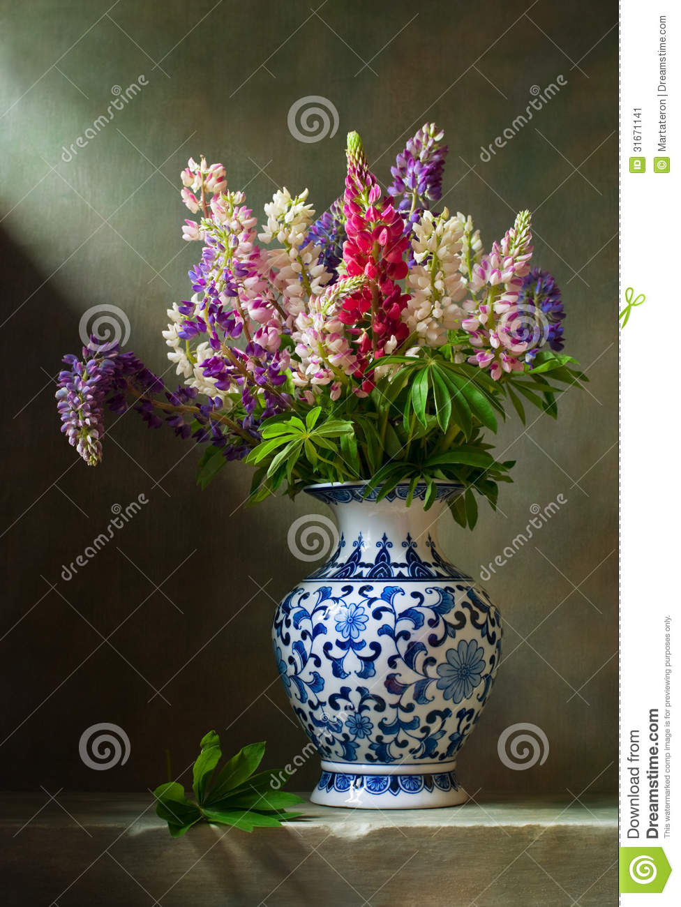 Still life with flowers lupine