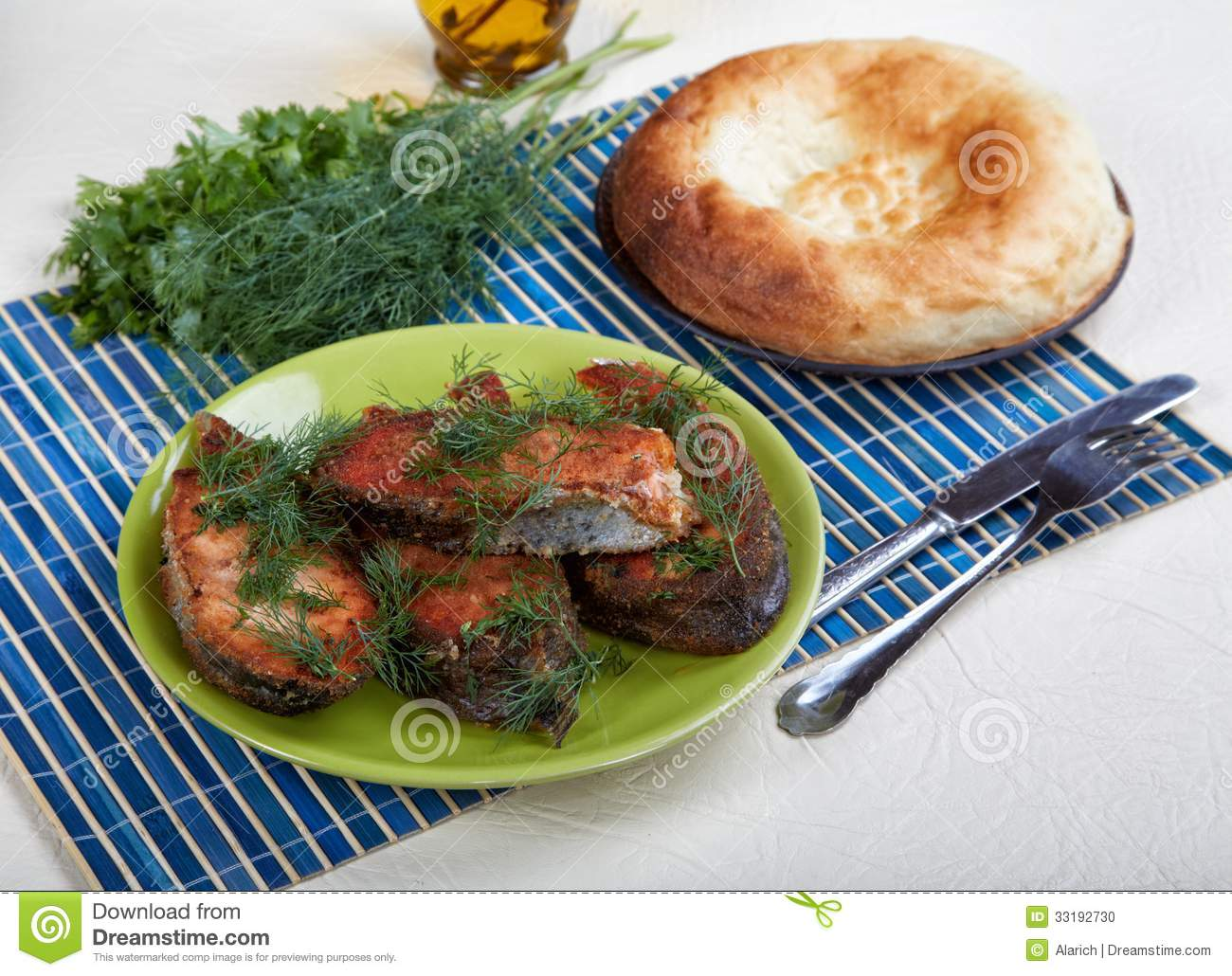 Still life with fried fish and bread stock photo image for How to bread fish
