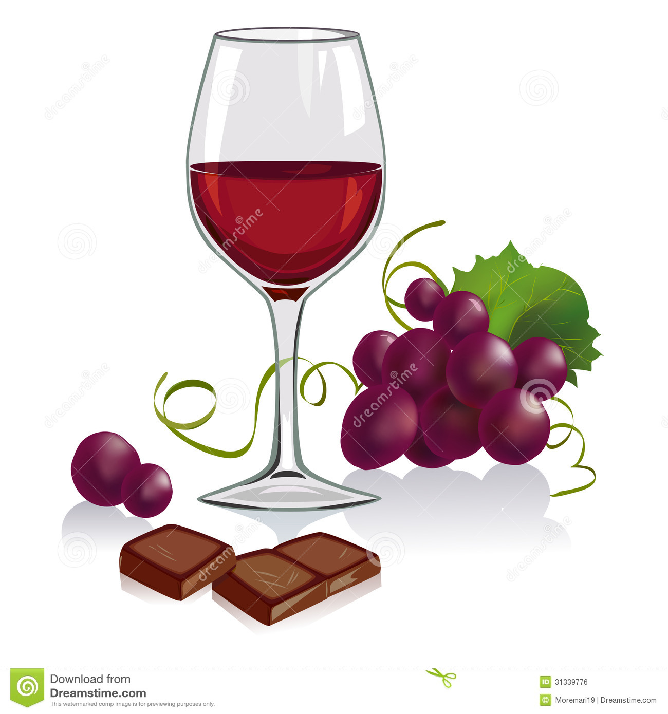 Still Life With A Glass Of Wine, Grapes And Chocol Royalty Free Stock ...