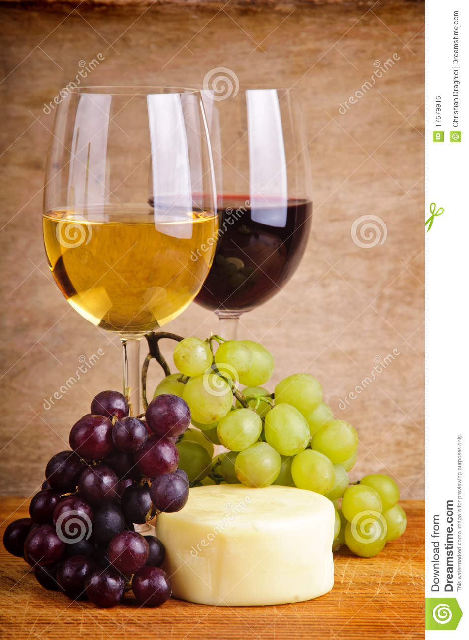 Still Life With Grapes Cheese And Wine Stock Photo