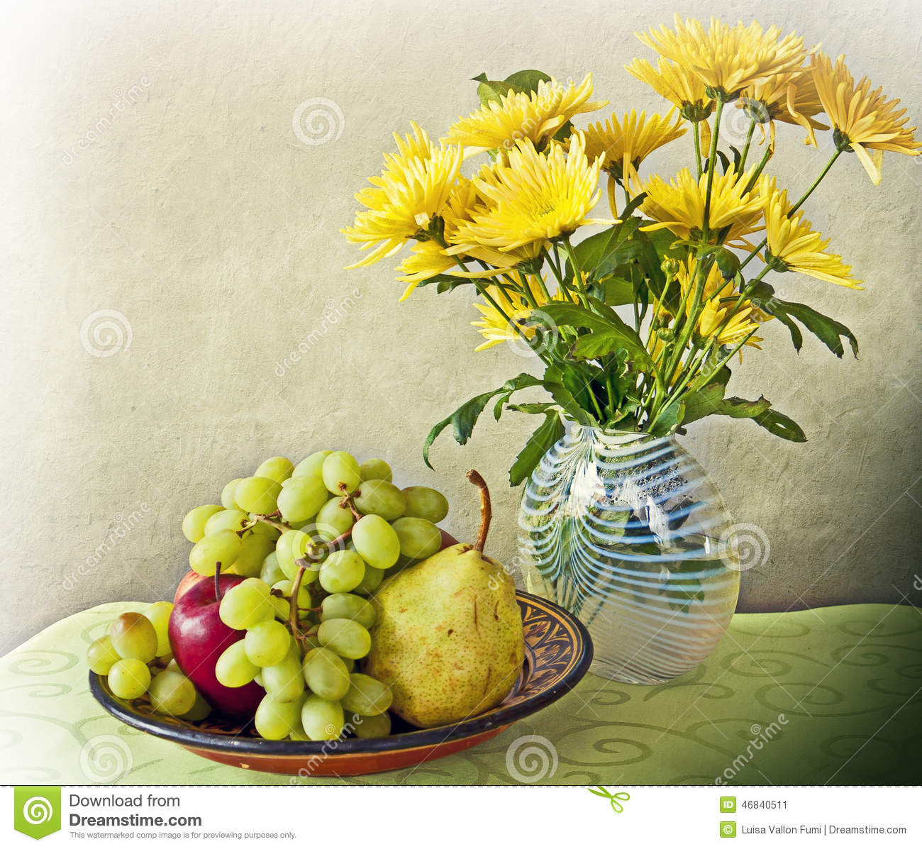 Download Still Life Interior With Fruits And Flowers Stock Image