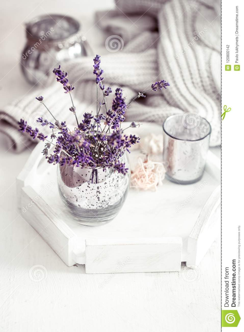 Still life with lavender in a glass