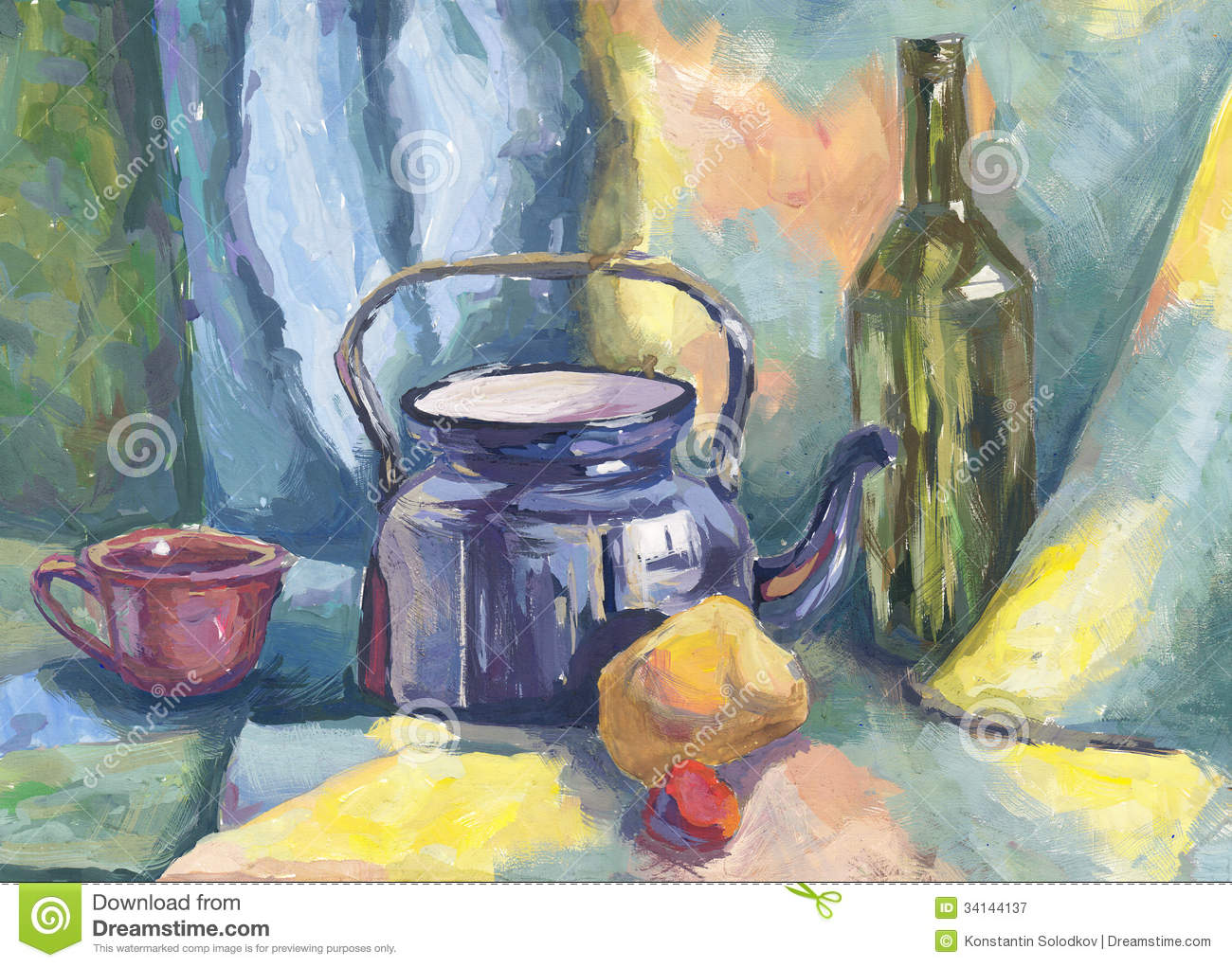Still Life With Metal Teapot And Bottle Royalty Free Stock