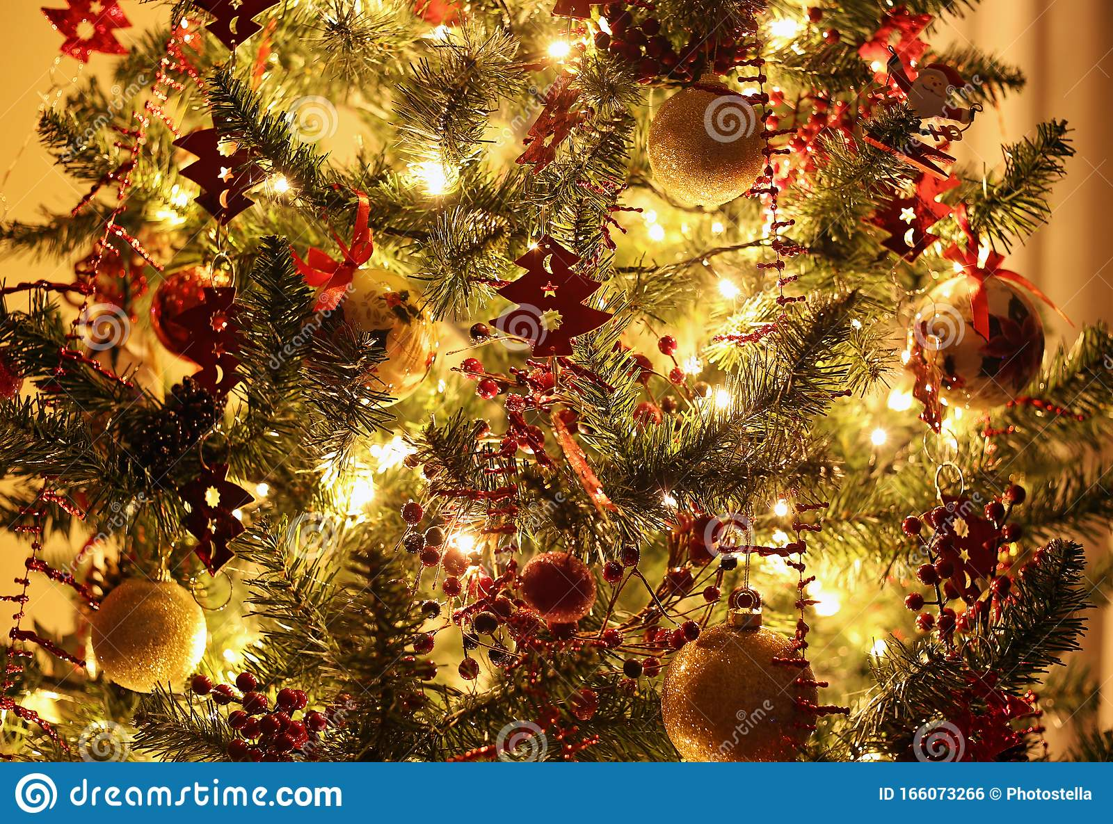 Night Christmas Tree With Ornaments In Red And Gold Colors Stock Photo Image Of Orange Blinking 166073266