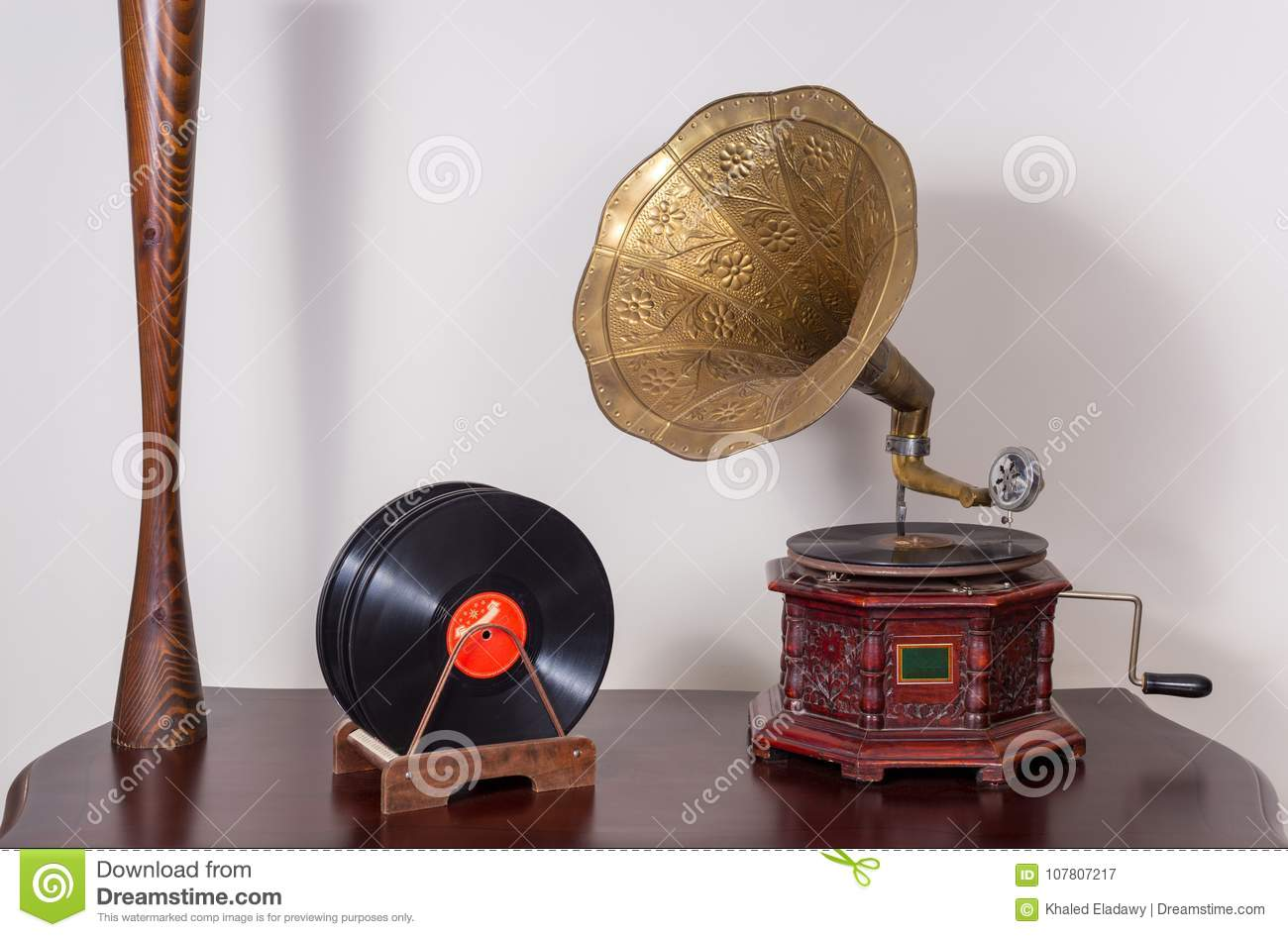 Still life of a nineteenth century phonograph and vinyl records
