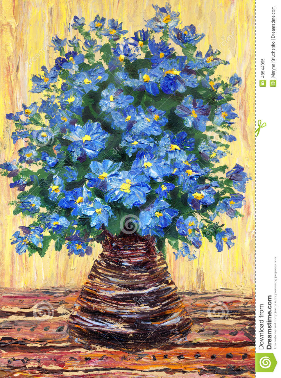 Still Life Oil Painting Bouquet Of Blue Flowers In A Vase