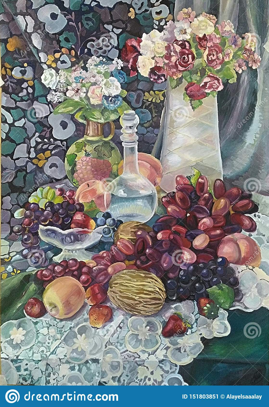 Still-life painting with the bouquet and juicy fruits.