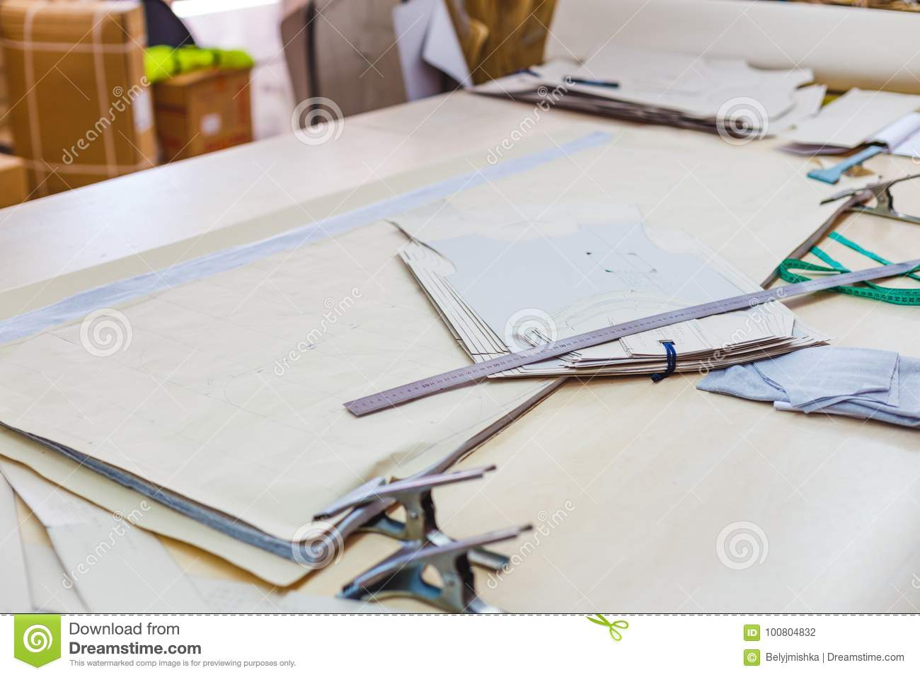 Still Life Photo Of A Clothes Pattern Template With Ruler, Tape ...