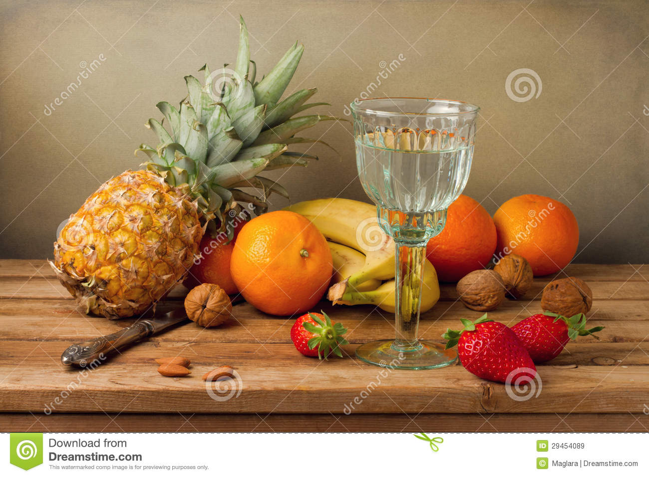Still life with pineapple and assorted fruits stock image for Immagini natura gratis