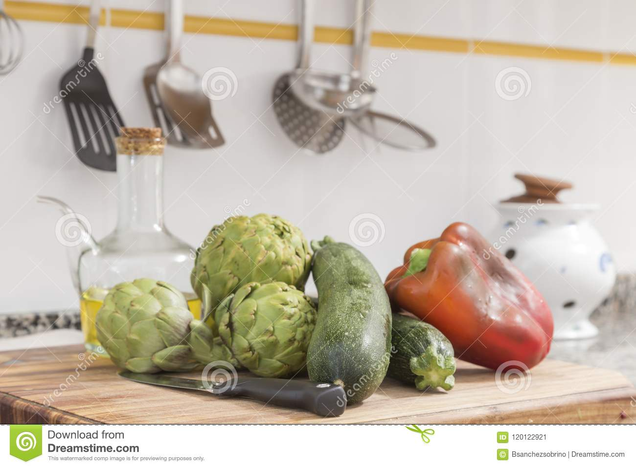 Still Life With Raw Vegetables And Oil In The Kitchen Stock Image ...