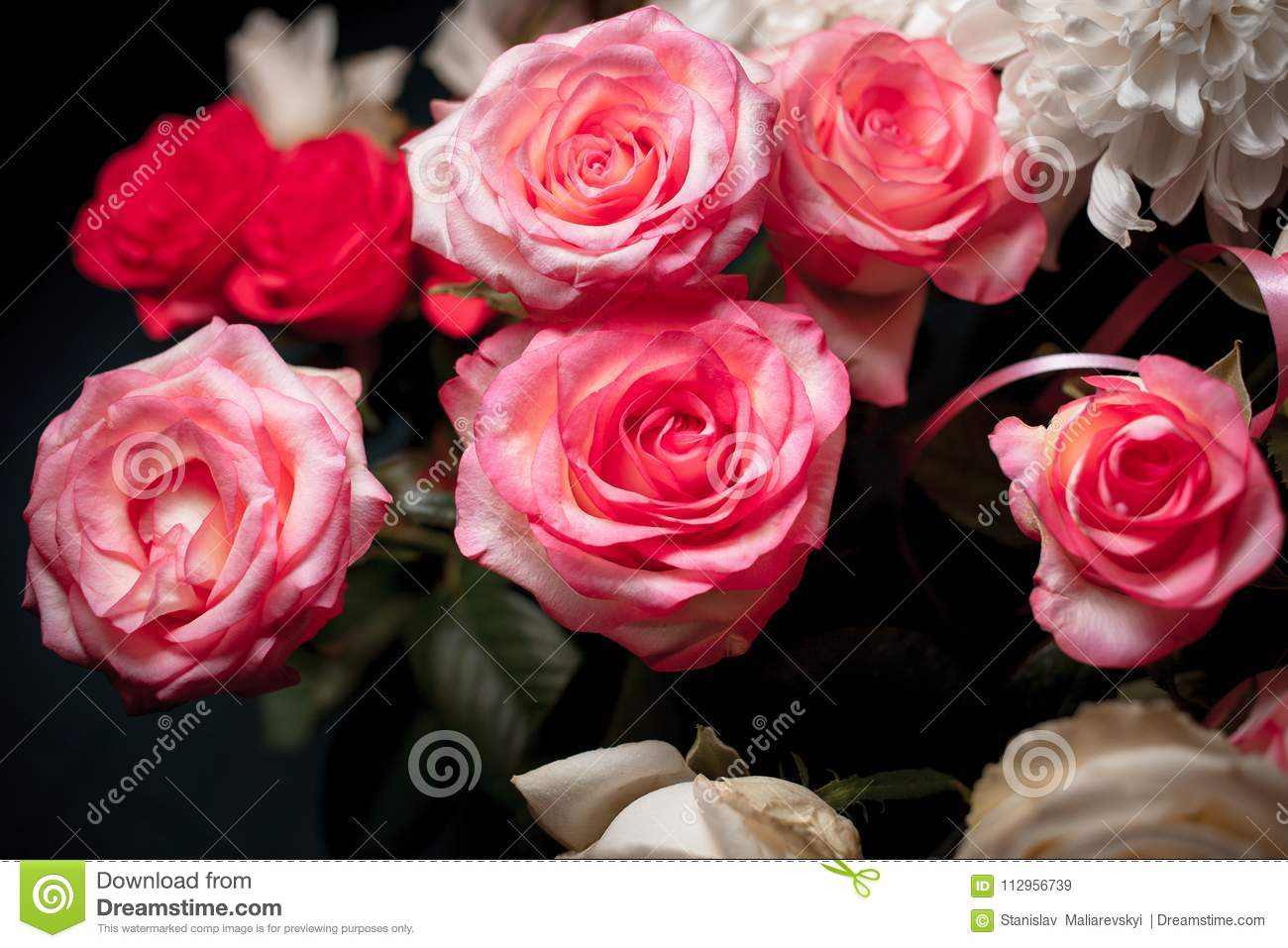 Still Life Of Rose Bouquet Flower. Beautiful Fresh Pink Roses. Rose ...