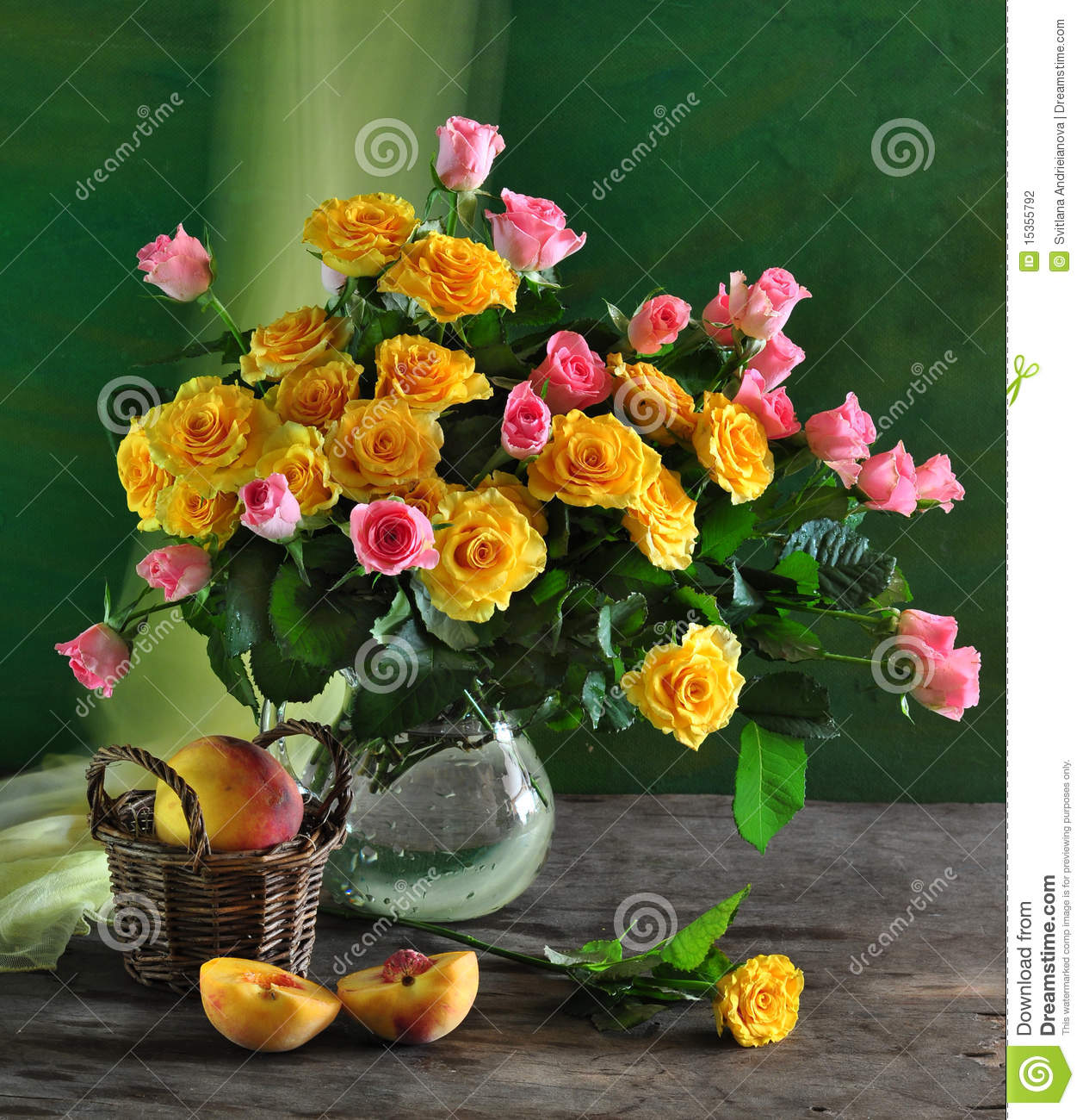 still life with roses and peach