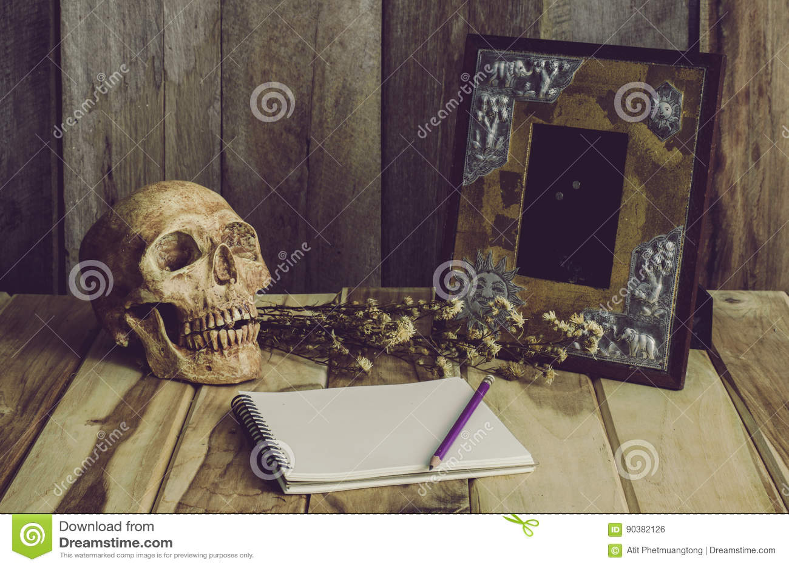 Still Life Skull Picture Frames, Vases, Dried Rose Notebook Concept ...