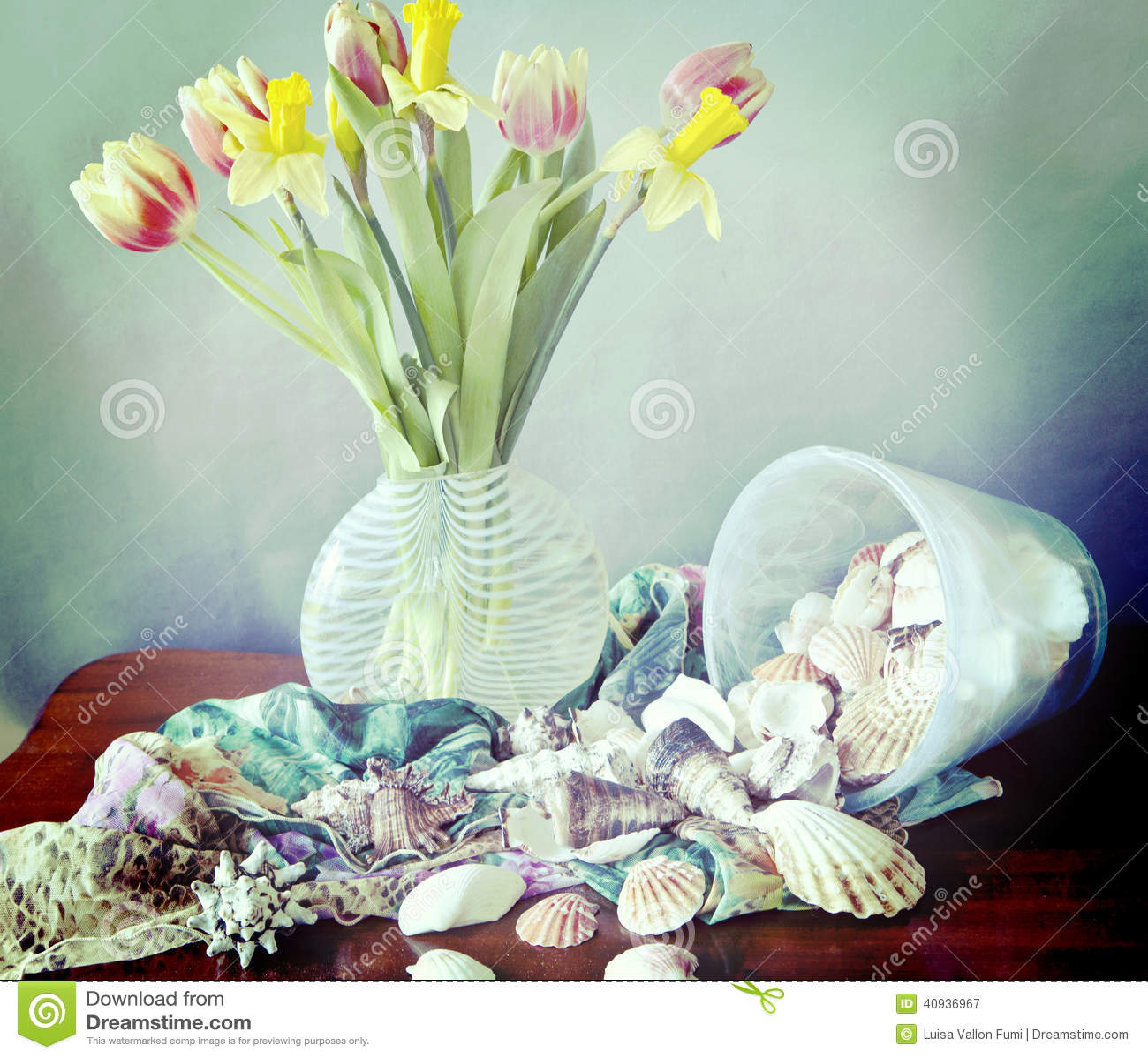 Still lifespring flowers shells and silk scarves stock image still lifespring flowers shells and silk scarves mightylinksfo