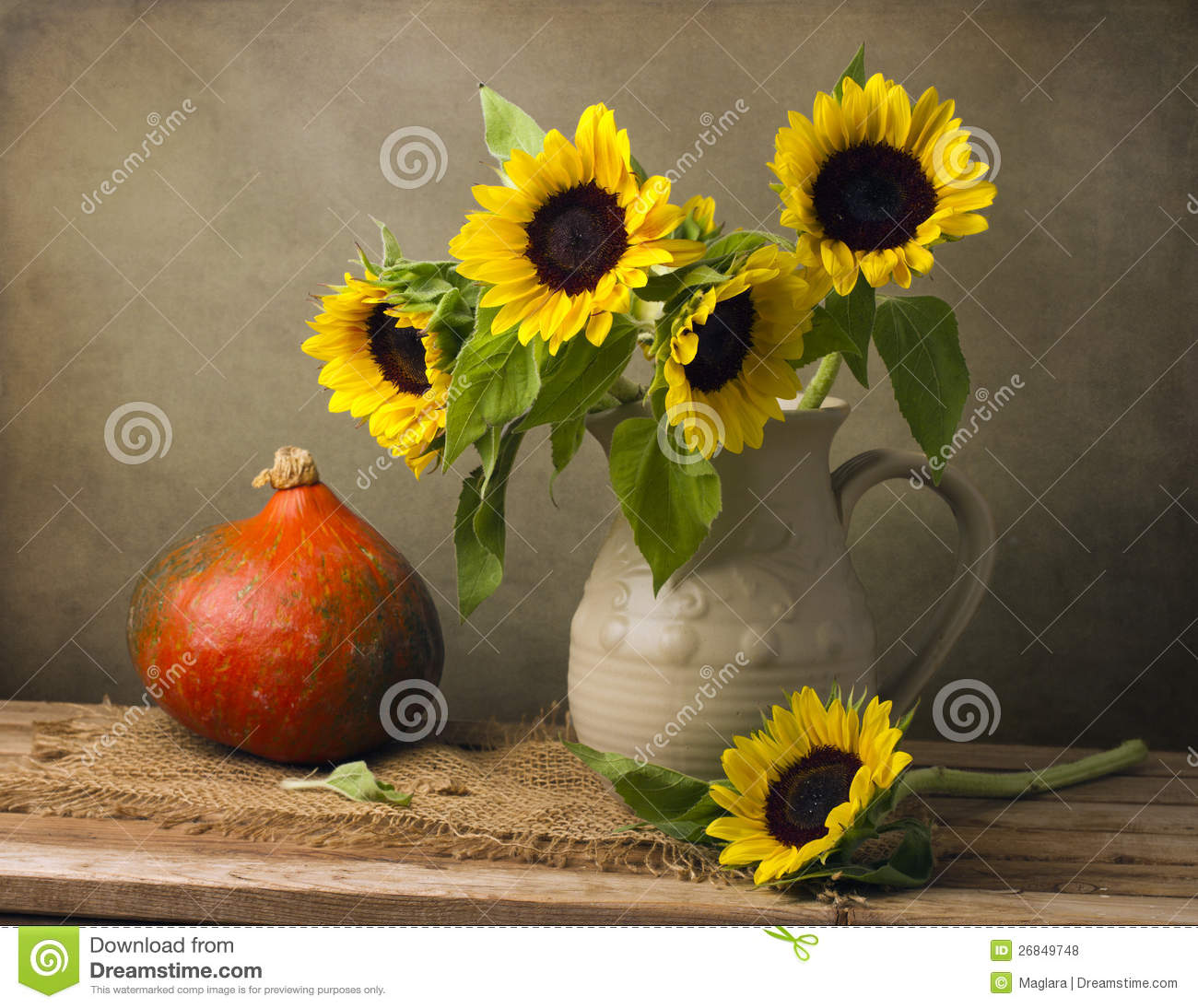 Still Life With Sunflower Bouquet And Pumpkin