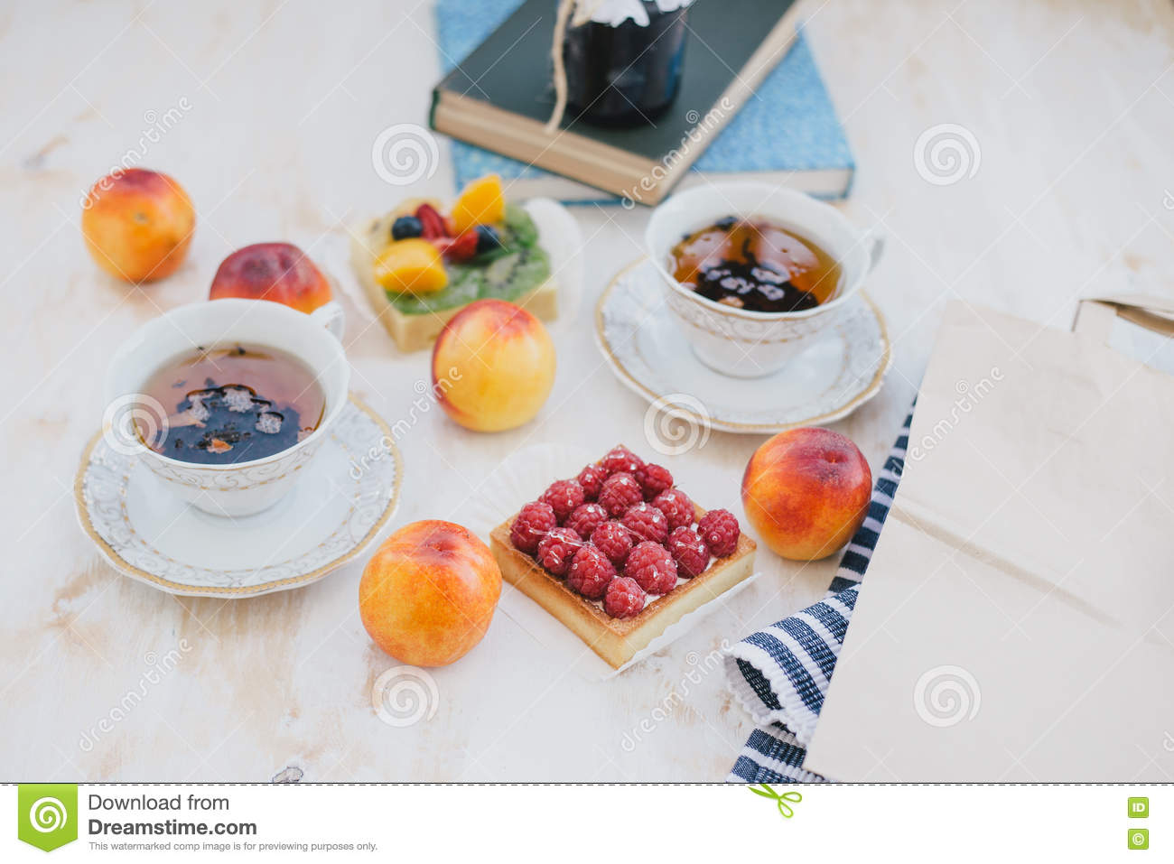 Still Life Of Fresh Fruits On White Background Stock