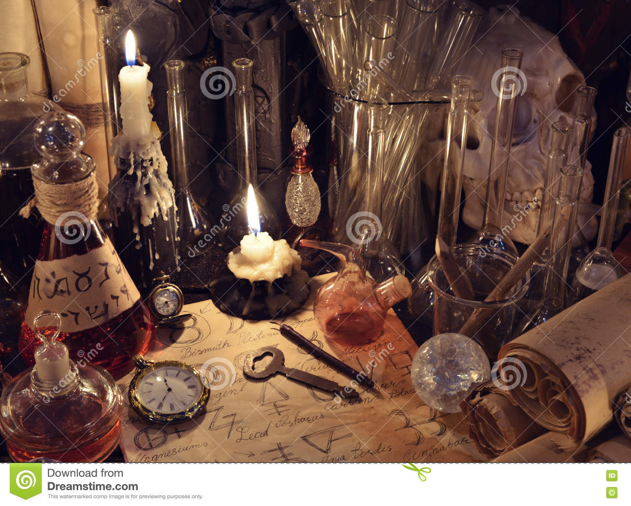 Still Life With Vintage Bottles Magic Objects And Paper Alchemy Signs