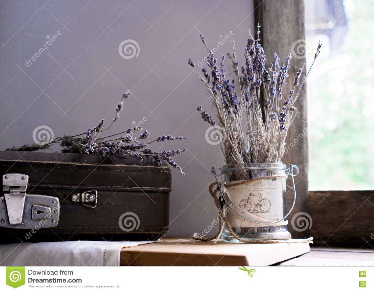 Still Life  Vintage  Old Suitcase And Sprigs Of Lavender On The