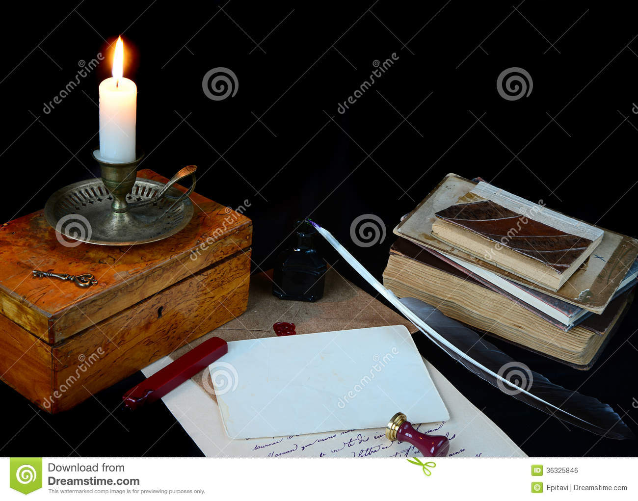 Still Life With Vintage Writing Instruments Royalty Free Stock Image ...