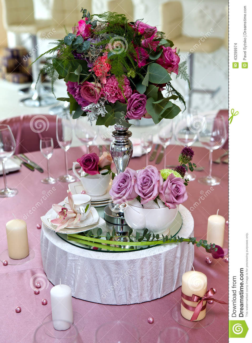 Still Life Wedding Table Setting At A Wedding Reception Stock Photo Image 43299974