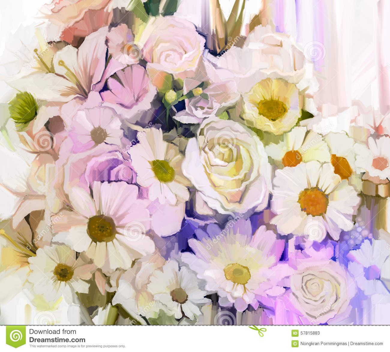 Still Life Of White Color Flowers With Soft Pink And Purple
