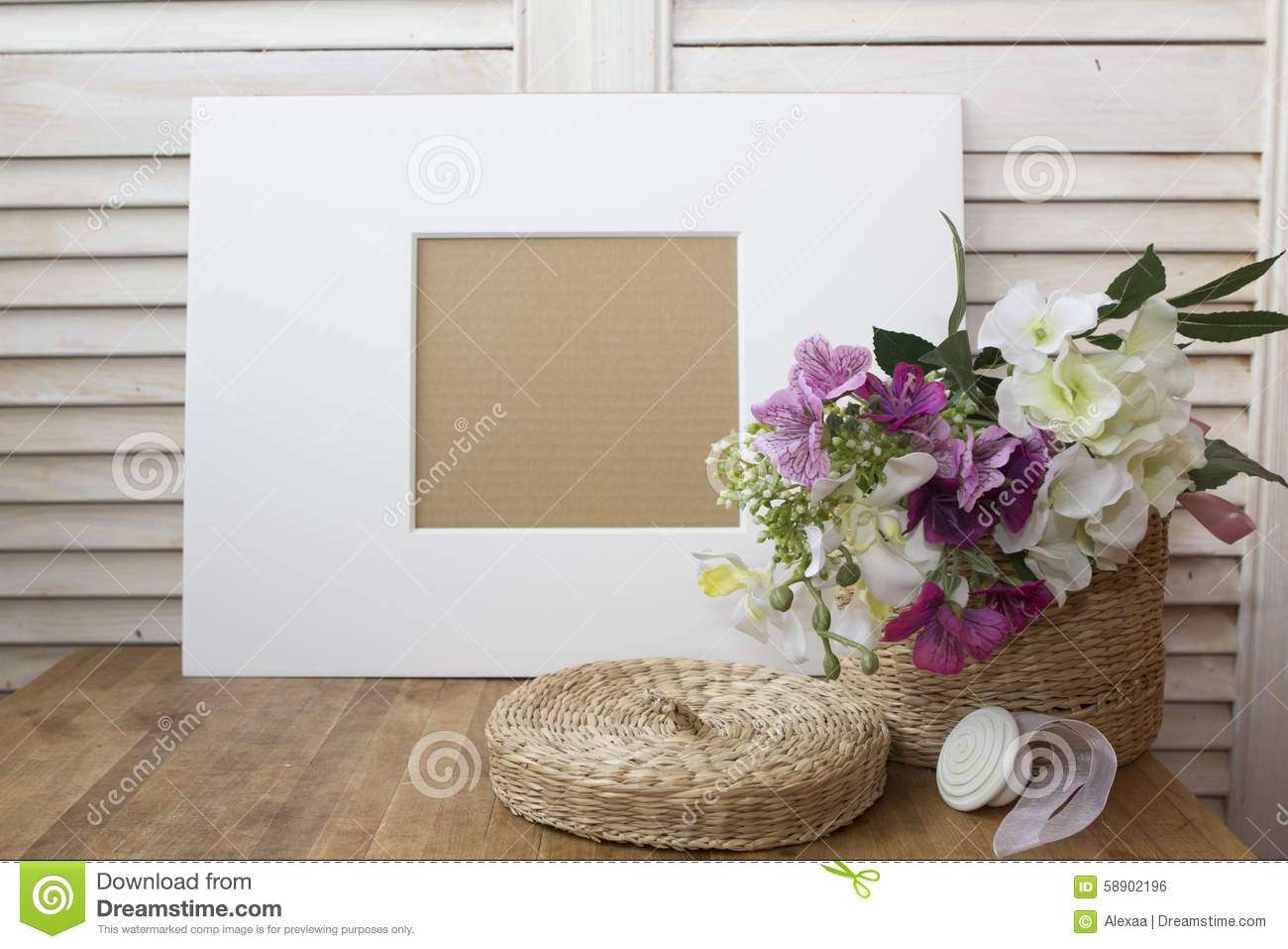 Still Life With A White Frame And A Nice Flowers Stock Photo - Image ...