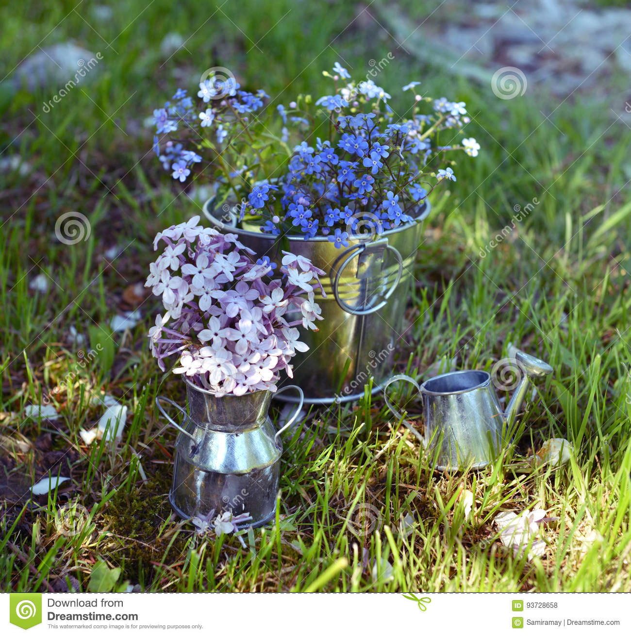 ca1e7352a7a Still Life With Wildflowers, Lilac Bouquet And Cute Watering Can In ...