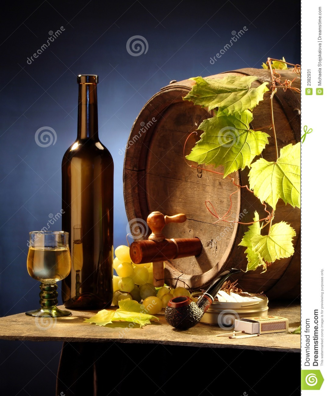 Still-life with wine on blue