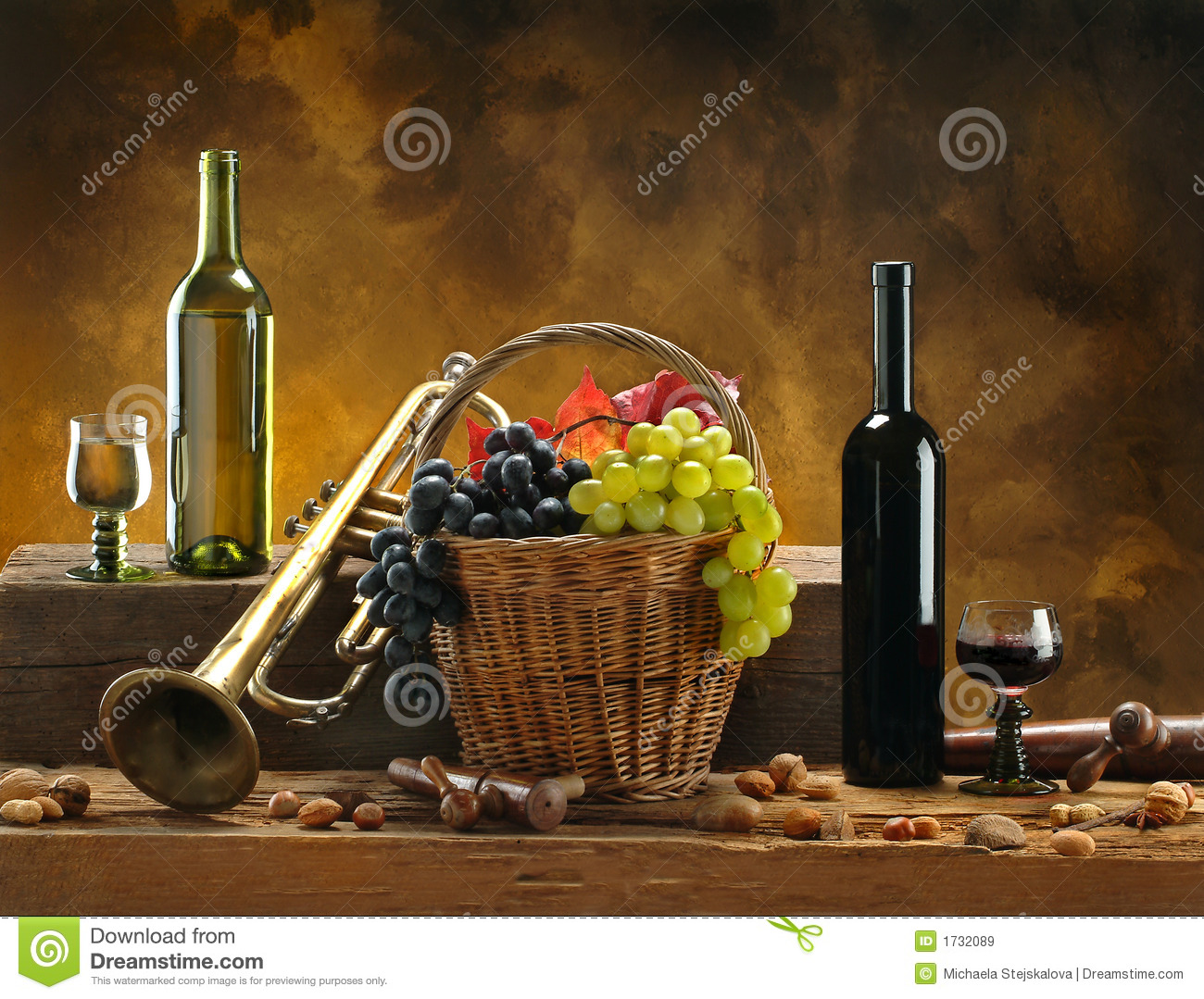 Still Life With Wine And Trumpet Stock Image Image Of